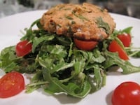 Wild Salmon Cakes with Avocado Arugula Salad