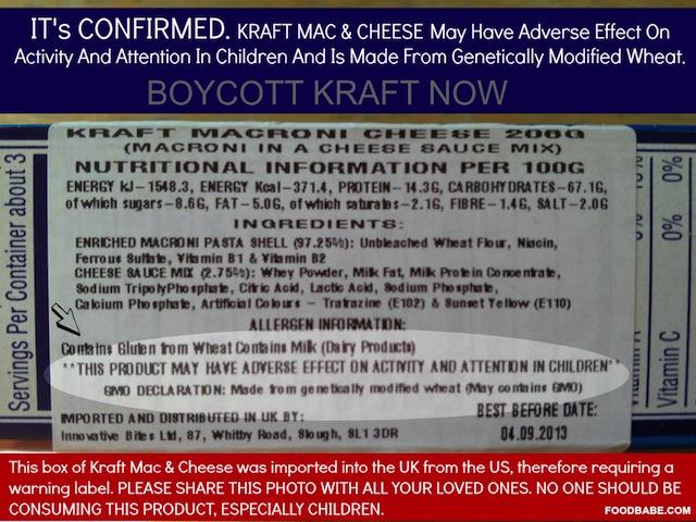 Kraft Warning Label
