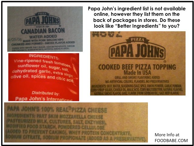 Papa Johns Ingredients