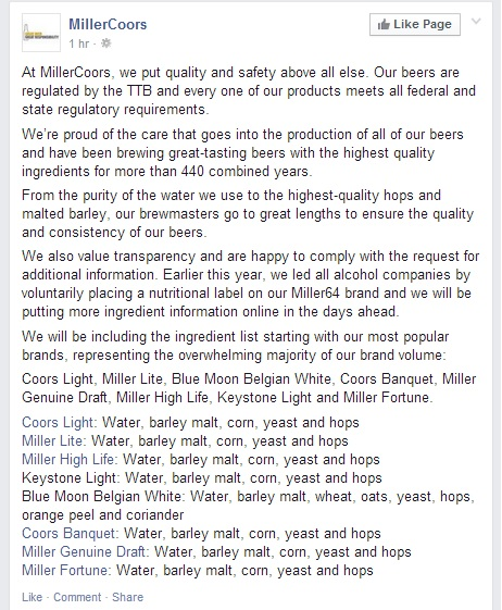MillerCoors Facebook