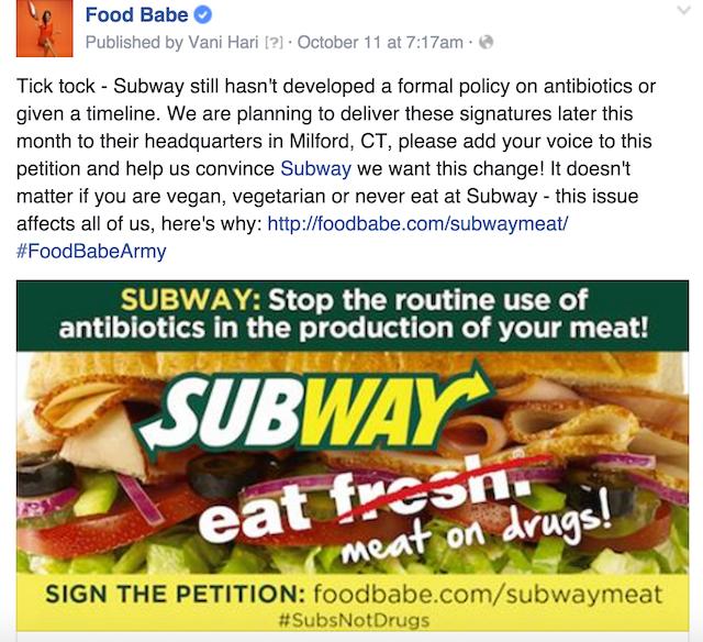 Subway facebook