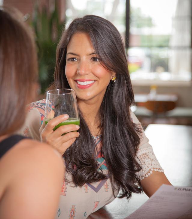 Drinking green drink