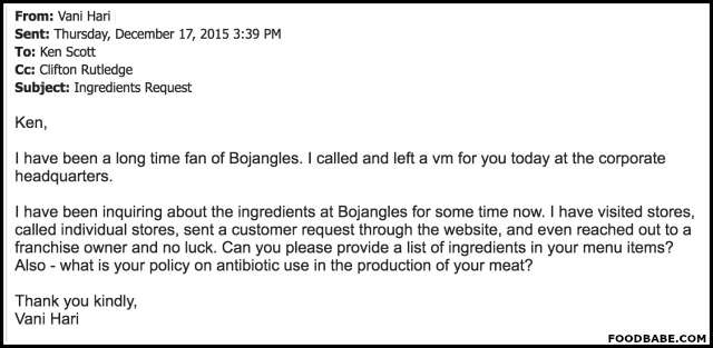 Email to Bojangles - 1