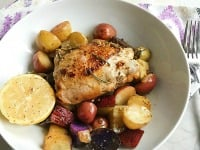 Make Dinner Easy With This One Pan Dish: Lemon Rosemary Chicken & Root Vegetables