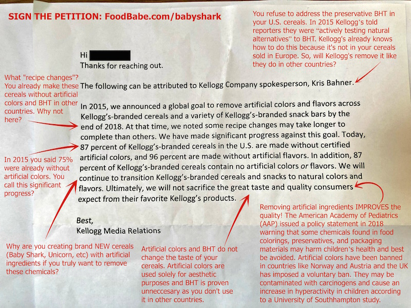 BREAKING: Kellogg's responds to our petition on TV appearance