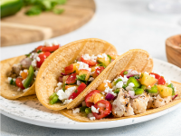 Organic Grilled Chicken Tacos With Fresh Peach Salsa (Healthy Mexican Food)