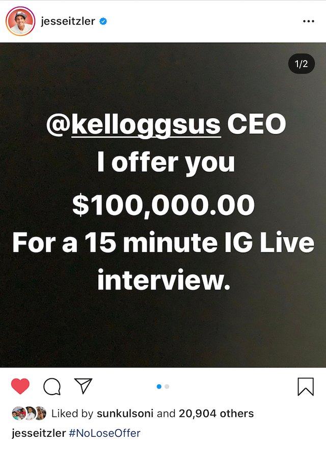 Interview Request to Kellogg's CEO – 15 min interview for 100k (Please share this post)